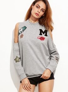 Cut-Outs Sweatshirt mit bestickte Patch -hell grau