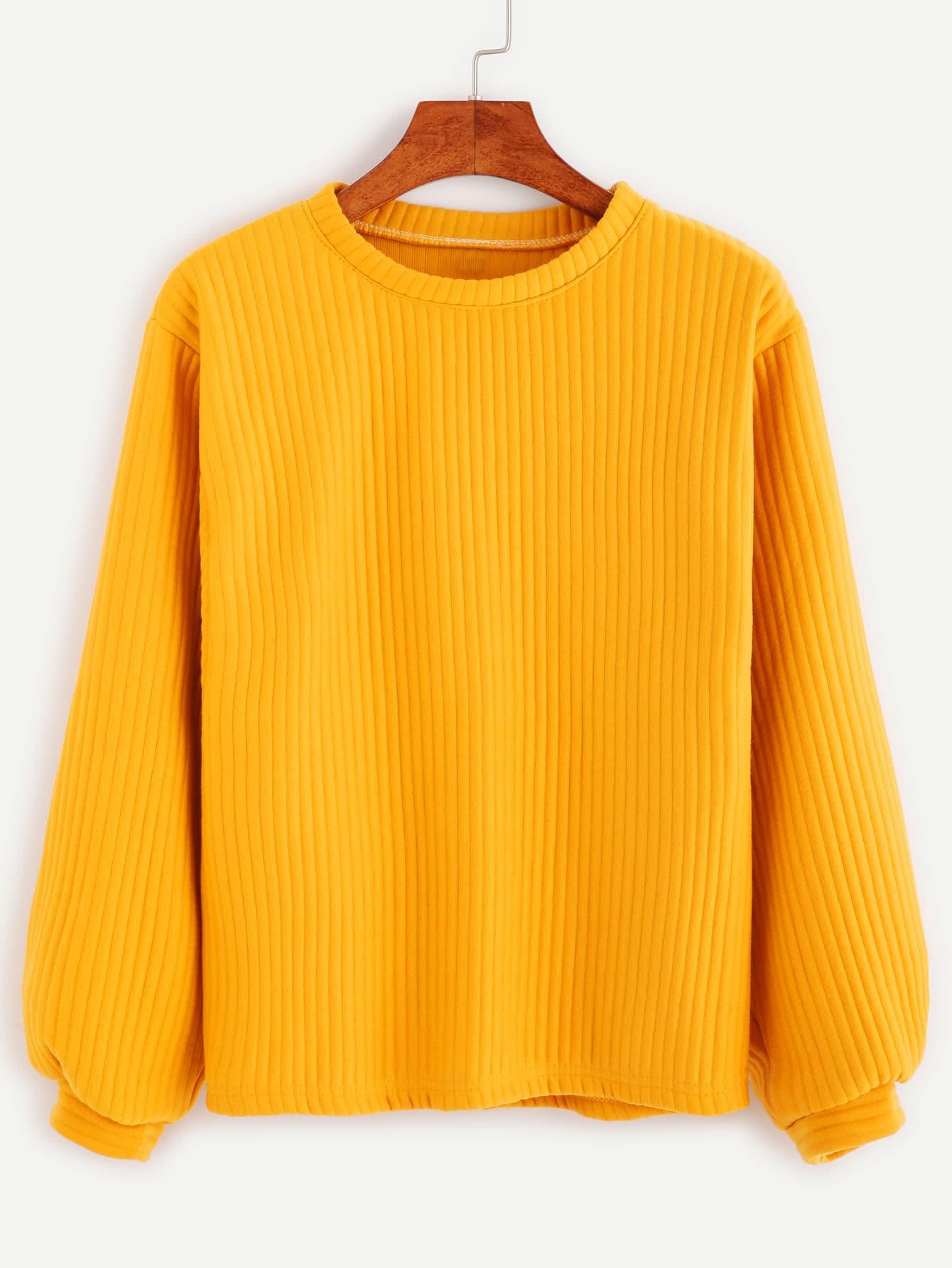 Yellow Long Sleeve Ribbed Sweatshirt