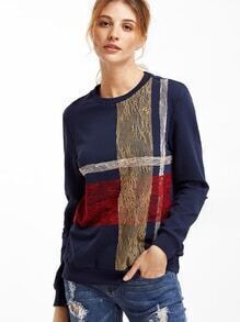 Navy Floral Lace Applique Sweatshirt