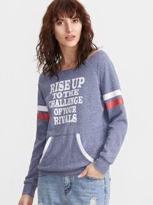 Navy Heathered Letter Print Striped Sleeve Sweatshirt