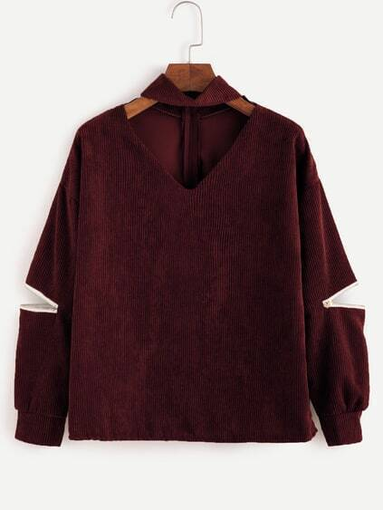 Burgundy Choker V Neck Zip Detail Corduroy Sweatshirt