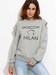 Sweat-shirt imprimé lettres - gris
