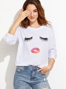 White Closed Eyes Print Drop Shoulder Sweatshirt