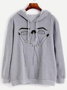 Sweat-shirt imprimé geste avec capuche - gris