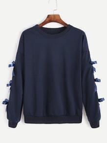 Sweatshirt Drop Schulter Schleife Ärmel -marine
