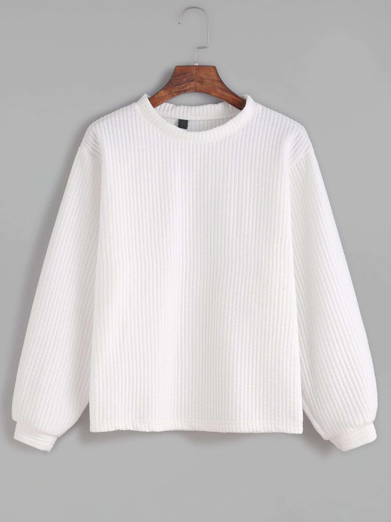 White Long Sleeve Ribbed Sweatshirt sweatshirt160927103