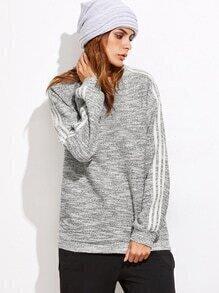 Sweat-shirt tricoté manche à rayure - gris