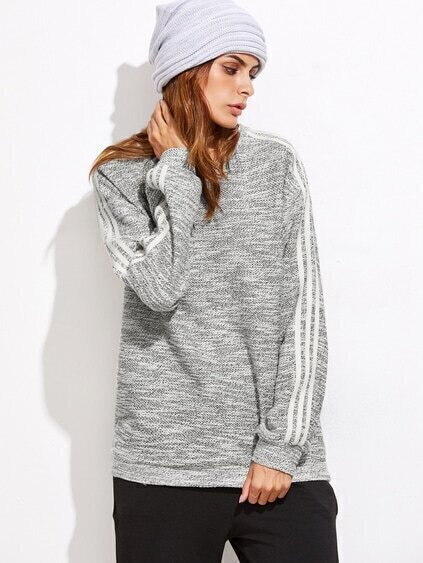 Grey Marled Knit Striped Sleeve Sweatshirt
