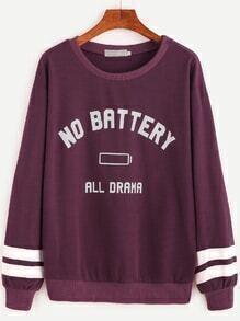Sweatshirt Baseball Streifen und Buchstaben Druck-purpur
