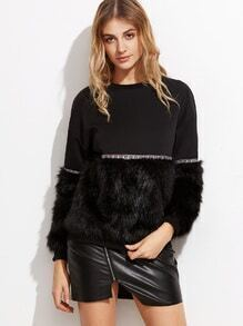 Black Mixed Media Faux Fur Sweatshirt