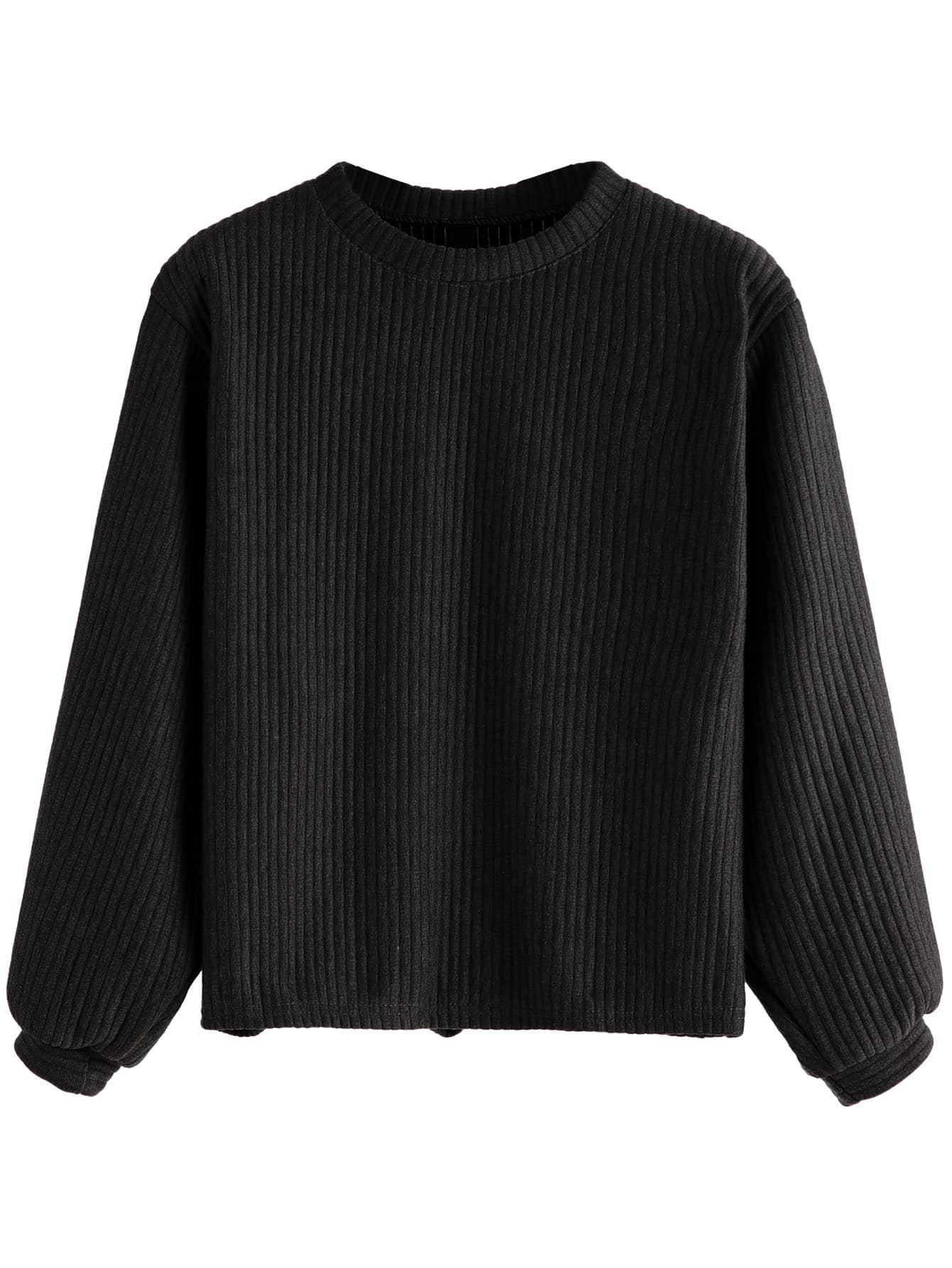 Black Long Sleeve Ribbed Sweatshirt