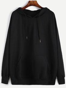 Black Hooded Drawstring Sweatshirt