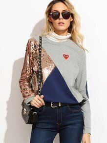 Color Block Elbow Patch T-shirt With Sequin Detail