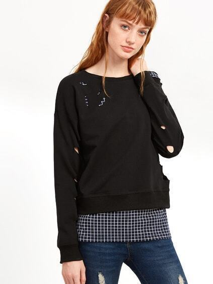 Black Drop Shoulder Ripped Sweatshirt