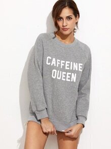 Sweat-shirt imprimé slogan - gris