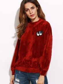 Sweat-shirt en velvet avez patch forme en œil animation - rouge