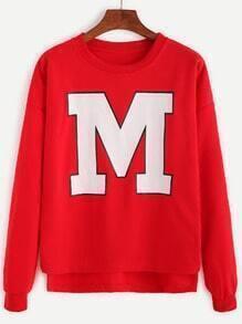 Sweat-shirt imprimé lettre - rouge