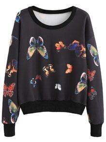 Sweat-shirt imprimé papillon manche longue - noir