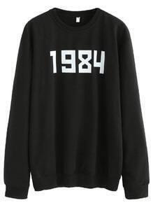 Sweat-shirt imprimé chiffre manche longue - noir