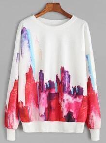 Sweat-shirt imprimé abstrait manche longue - blanc