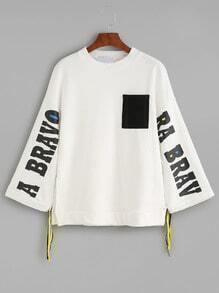 Kordelzug Sweatshirt  mit Kontrast Taschem Buchstaen Druck -weiß