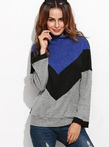 Color Block High Neck Ribbed Sweatshirt