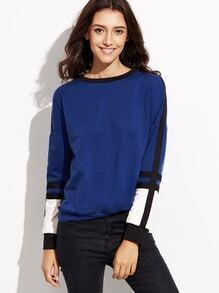 Sweatshrit Drop Schulter Kontrast Panel -blau