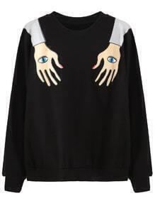 Sweatshirt Lustig drucken-schwarz