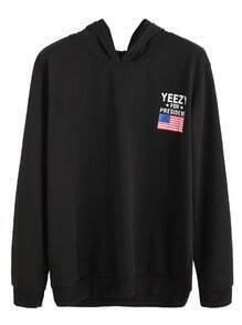 Sweatshirt mit Kapuzem Amerikanische Flagge Drucken-schwarz