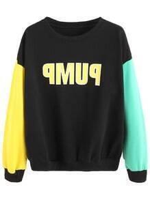 Sweat-shirt couleur bloc imprimé lettres