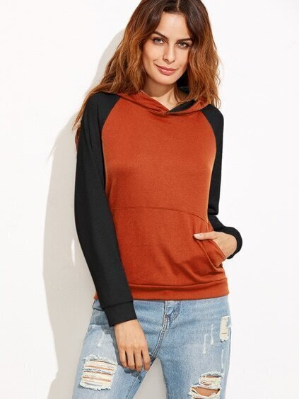 Contrast Raglan Sleeve Hooded Sweatshirt