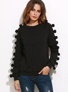 Black Raglan Sleeve Sweatshirt With Pom Pom