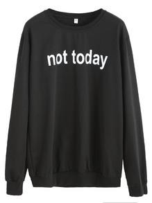 Sweatshirt Buchstaben Druck - schwarz