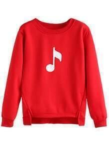 Sweat-shirt asymétrique imprimé notes musiques - rouge