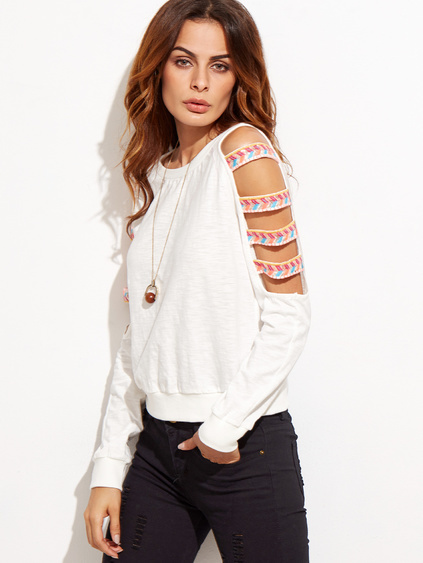 White Ladder Cutout Sleeve Embroidered Sweatshirt