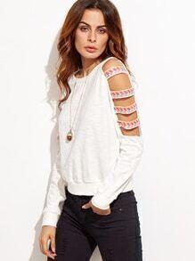 White Ladder Cutout Sleeve Embroidered Sweatshirt