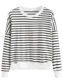 Sweat-shirt à rayures manche longue - noir blanc