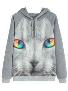 Contrast Trim Cat Print Hooded Sweatshirt