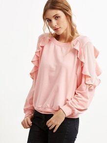 Sweatshirt Rüschem Saum -rosa