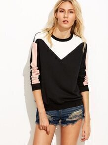 Sweat-shirt color-block manche longue