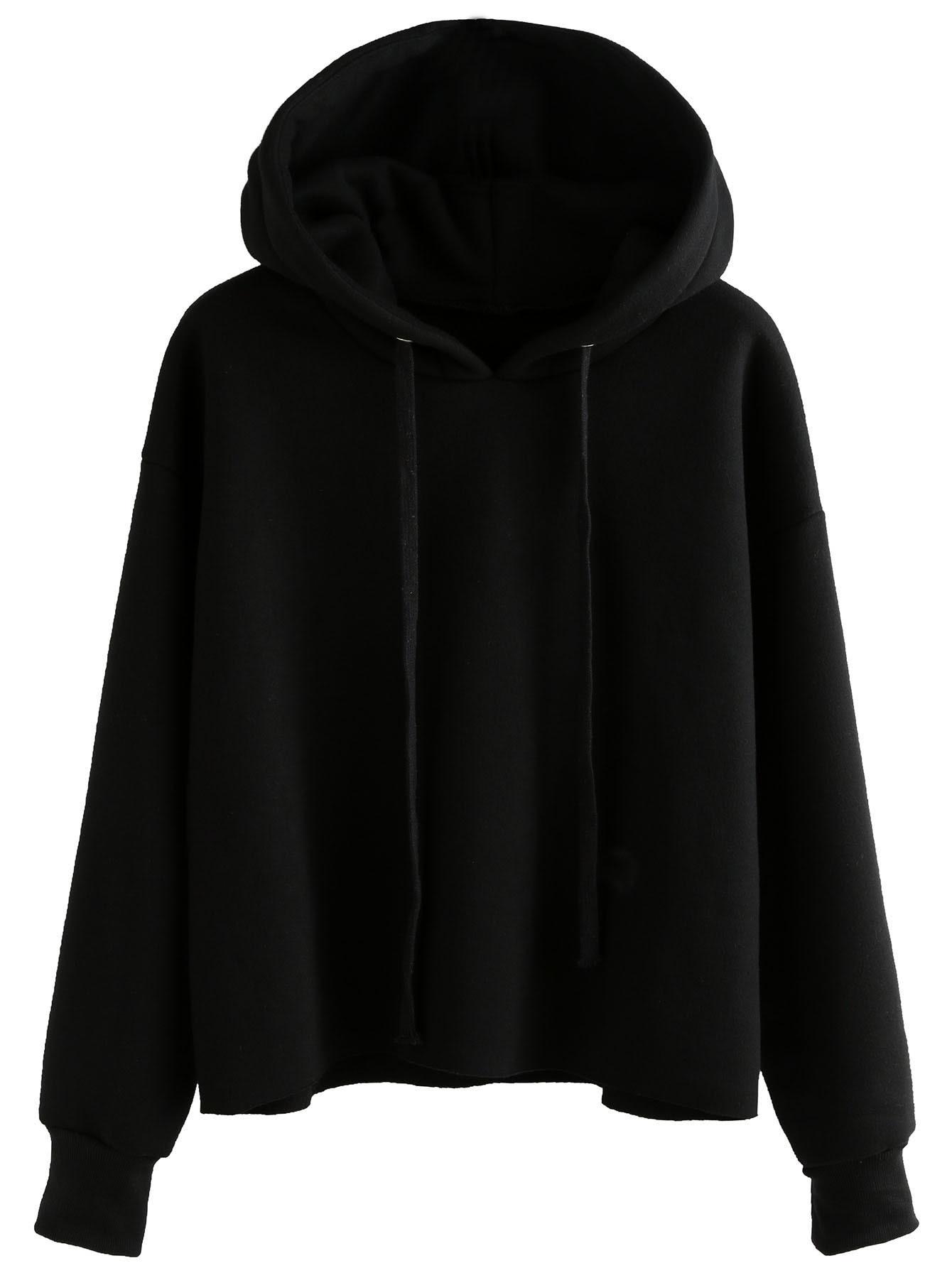 Black Drawstring Hooded Sweatshirt