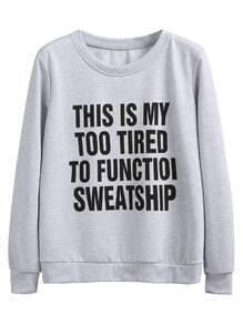 Sweat-shirt imprimé slogan - gris