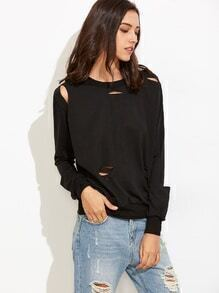 Distressed Sweatshirt langarm - schwarz