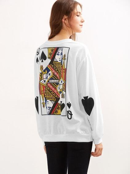 White The Queen Of Spades Print Sweatshirt