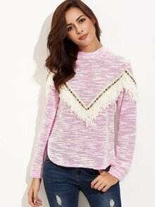 Hot Pink Textured Sweatshirt With Fringe Detail