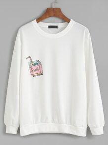 Sweat-shirt imprimé  boisson manche longue - blanc