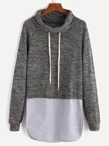 Sweat-shirt col roulé couleur bloc - bicolore