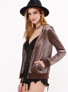 Sudadera de terciopelo con capucha y cremallera - marrón