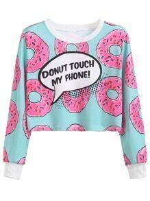 Sweat-shirt imprimé donuts manche longue