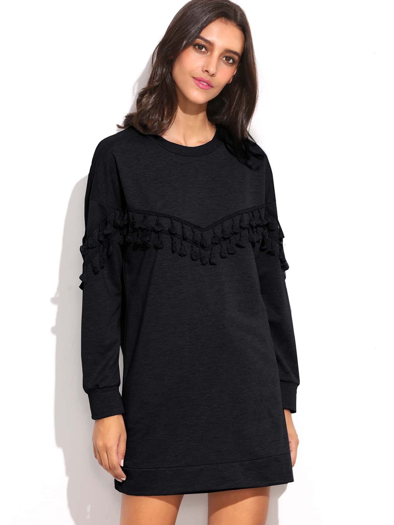 robe sweat shirt manche longue avec franges noir french romwe. Black Bedroom Furniture Sets. Home Design Ideas